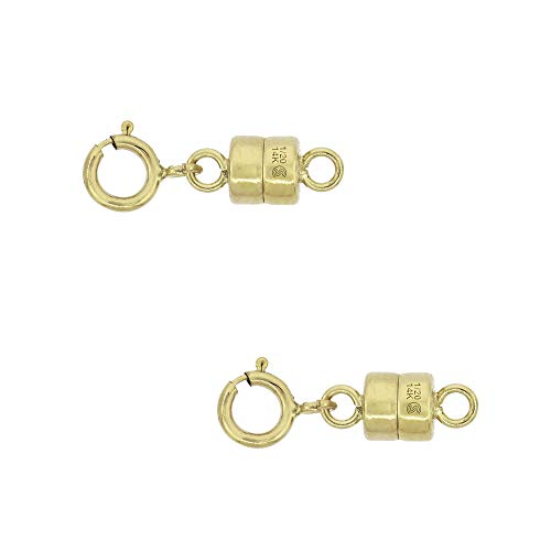 2 Pack 14k Gold-Filled 4 mm Magnetic Clasp Converter for Light Necklaces USA Square Edge 5.5mm SpringRing