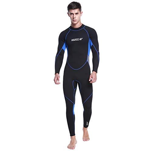 LOPILY Herren Sommer Surfbekleidung Wakeboarding Wetsuit 3MM Ganzkörperanzug Wassersport Anzug Neoprenanzug Schwimmanzug Surfanzug Schnelltrocknend Sonnencreme(X1-Schwarz,L)