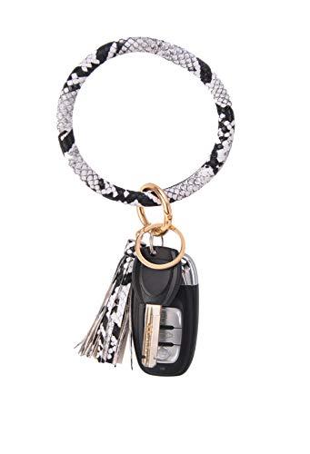Coolcos Key Ring Bracelets Wristlet Keychain Bangle Keyring - Large Circle Leather Tassel Bracelet Holder For Women Gift(Snakeskin White)