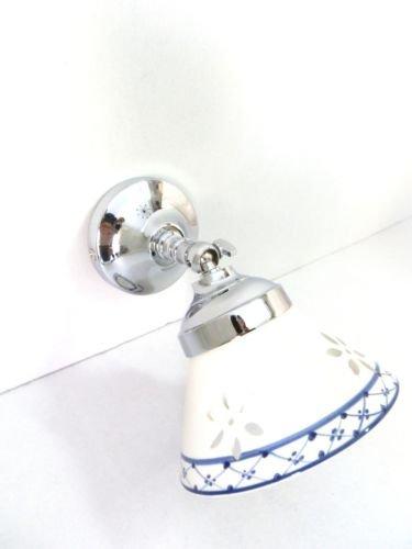 Applique in ottone cromato Bagno parete Camera da letto con ceramica blu
