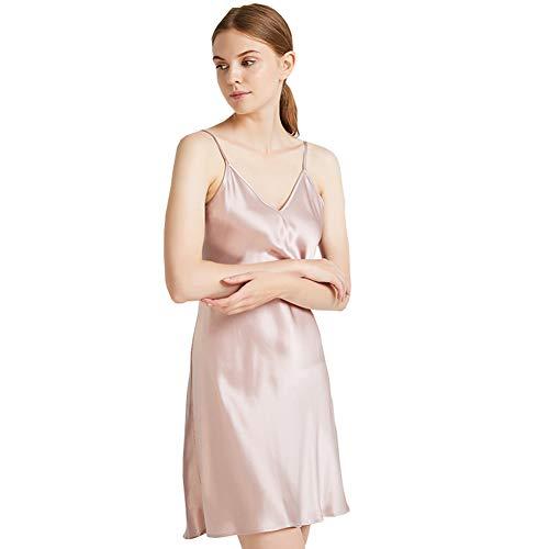 JYCDD Vestido de Seda de Seda del camisón del camisón de la Seda del camisón de la Seda de la Mujer,Natural,L