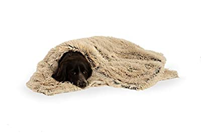 Best Friends by Sheri Luxury Shag Dog & Cat Throw Blanket 30x40, Taupe, Matching Donut Shag Cuddler Bed, Multi-Use, Mat, Sofa Cover, Warming