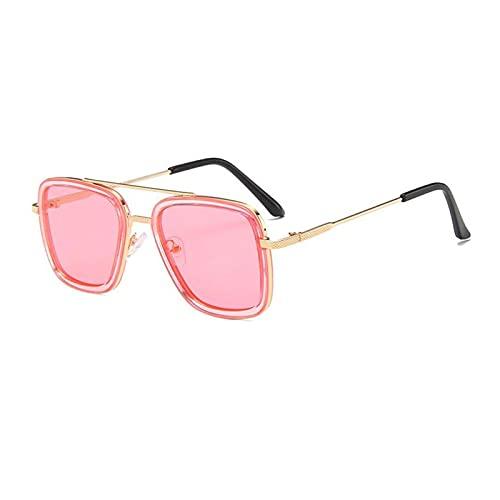 YONGYONGMY Gafas de Sol Gafas de Sol Gafas para Hombres Mujeres Retro a Prueba de Viento Punk de conducción Gafas UV400 (Objektiv-Farbe : Gold Pink)