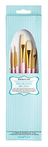 KitchenCraft Sweetly Does It Cake Decorating Brushes, Pink, Set of 5