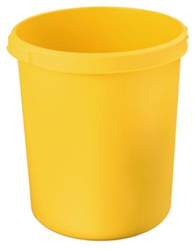 HAN 1834-15, Papierkorb KLASSIK, schick, elegant und praktisch, extra stabil mit Griffmulden, 30 Liter, gelb, 1834-15