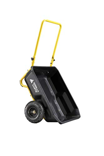 Gorilla Carts GCR-4 4 Cu. Ft, 300-pound Capacity, Poly Yard Cart, Black/Yellow