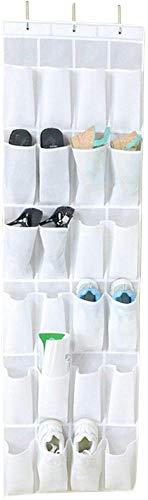 Wacemak1r Organizador de zapatos con 24 bolsillos para colocar sobre la puerta, para el hogar, color blanco