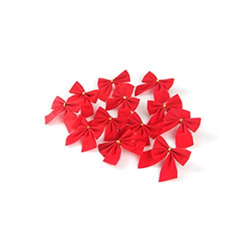 Arcos navideos Decoraciones colgantes Oro Plata Rojo Bowknot Adornos para rboles de Navidad Decoracin de ao nuevo (Color : Set red, Size : 6 * 5.6cm)