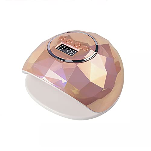 wiedao Lámpara de uñas de Gel UV, luz de secador de uñas para Esmalte de uñas de Gel, manicura, lámpara de curado de salón Profesional con 4 sensores de Ajuste de temporizador86W (Dorado)