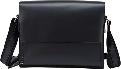フォーマル風 本革 メンズ ショルダーバッグ 斜め掛け メッセンジャーバッグ 自転車鞄 A4対応 ブラック