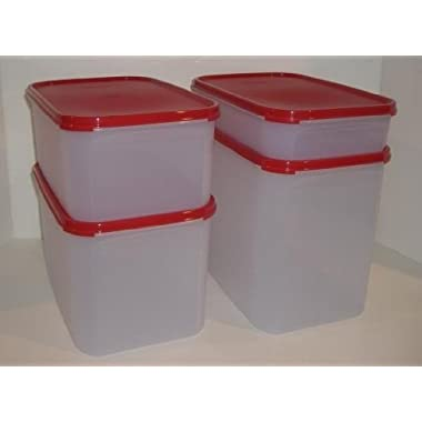 Tupperware Modular Mates Rectangular Storage Containers, Set of Four, Red Seals (Rectangle #1, #2, #3, #4)