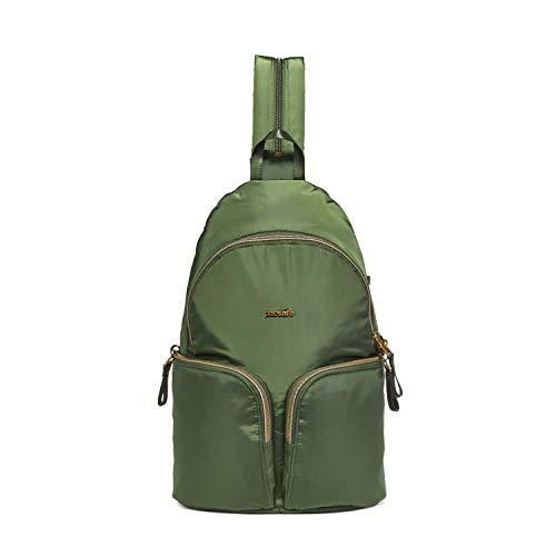 Pacsafe Stylesafe Sling Backpack, schlanker Rucksack für Damen, Zwei- und EIN- Riemen Schulterrucksack, Daypack mit Diebstahlschutz, Sicherheits-Features - 6 Liter, Uni, Grün/Kombu Green