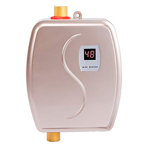 Gdrasuya10 3.0 KW 110V Mini Instant Electric Tankless Hot Water Heater for Shower Kitchen Washing Faucet Home Bathroom Heating System (Gold)