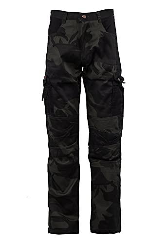 Stenso Kamo - Pantalones de Trabajo Cargo camuflado para Hombre - numerosos Bolsillos - Negro S