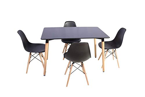 Kit Mesa Jantar Retangular Eiffel 120x80cm Preta + 4 Cadeiras Eames Eiffel Preta