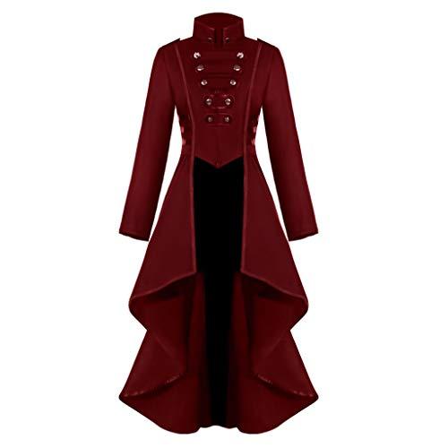iHENGH Damen Gothic Steampunk Button Lace Korsett Halloween Kostüm Mantel Frack Jacke(Rot, M)