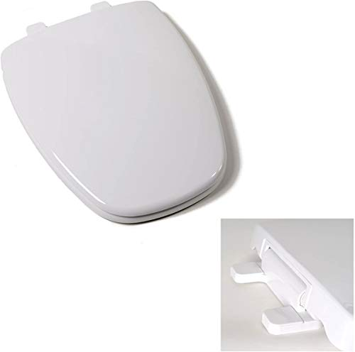 Deluxe Plastic Square Slow-Close White Elongated Toilet Seat for Eljer Toilets