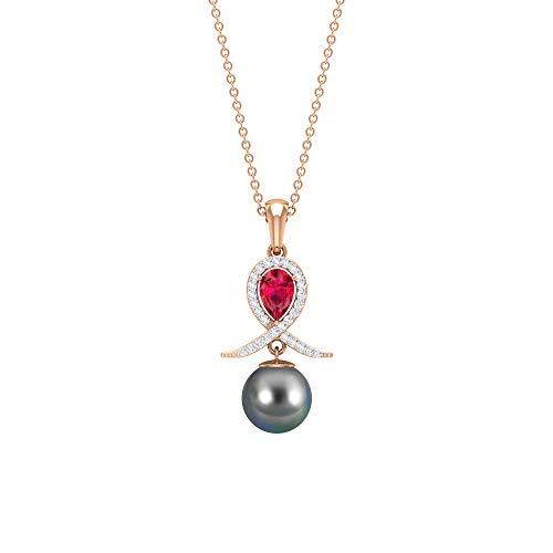 Collana di perle di Tahiti nere, pendente con rubino e diamante, collana da donna con ciondolo a goccia in oro, perla di tahiti da 8 mm (4 x 6 mm, rubino a forma di pera,18K Oro rosa Senza catena