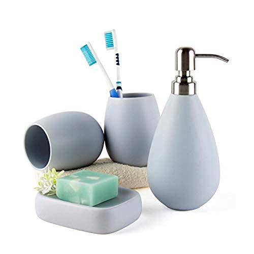 HUANGH Juego de baño Conjunto de Accesorios de encimera de tocador de baño de cerámica- Incluyendo dispensador de jabón, Soporte de Cepillo de Dientes, Plato de jabón Lightblue