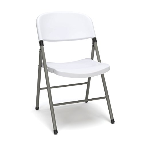 OFM ESS Collection Plastic Folding Chair, Pack of 4, in White (ESS-5000-WHT)