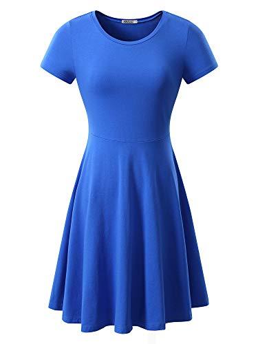 MSBASIC Kleid Sommerlich Strandkleider Damen Sommer Gartenkleid Blau Groß