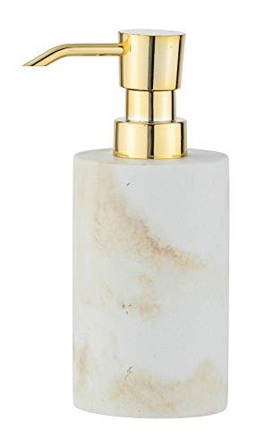WENKO Dispensador de jabón Odos - Dispensador de jabón líquido, dispensador de detergente Capacidad: 0.29 l, Poliresina, 7 x 18 x 10 cm, Blanco