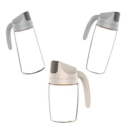 perfk Botella de Vidrio de Aceite de Oliva de 3 Piezas, Dispensador Automático de Tapa, Tarro de Vinagrera de Cocina, Tamaño 3