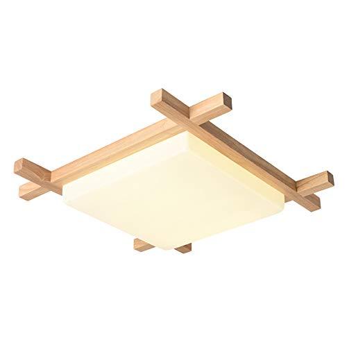 Preisvergleich Produktbild WUIO Japanische LED-Deckenleuchte Aus Holz,  Morden Square Dimmable Deckenleuchte Schlafzimmer Balkon Korridor Küche Beleuchtungskörper (110V-220V), 40CM