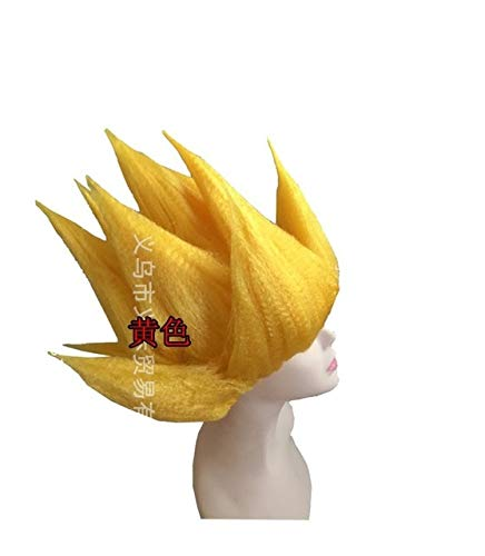 Junww Goku Cosplay Wigs Dragon Balls Super Saiyan Blue Red Black Yellow Goku Peluca Anime Men Adult Women Hair One Size Yellow