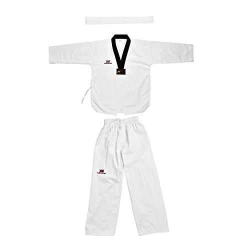 Alomejor Uniforme de Taekwondo, Manga Larga de algodón, con cinturón Blanco, Traje de Karate para Adultos y niños