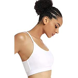 RUNNING GIRL Stappy Sports Bra for Women Sexy Open Back Medium Support Yoga Bra with Removable Cups(WX2311.White.XXL)