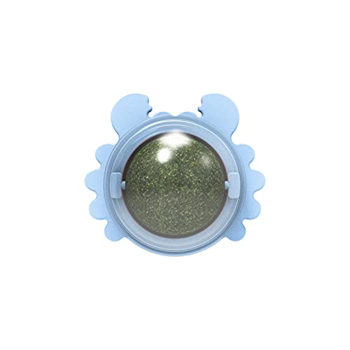 Aoten Crab Catnip Ball Toy Teething Cleaning Tool Rotatable Ball with Lid Autoadhesivo Cat's Toy