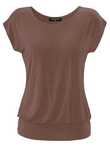Fleasee Damen T-Shirt Kurz Ärmel Bluse Stretch Lässig Tunika Allover Druck Oberteile Top XL Taupe