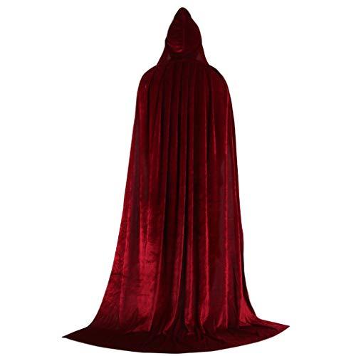 ZJfloral Capa larga con capucha de terciopelo para Halloween, Navidad, disfraces, disfraz de vampiro para adultos, disfraces de Halloween, regalo granate