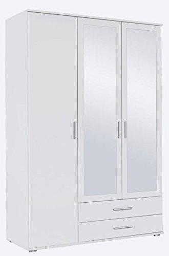 Kleiderschrank weiß 3 Türen B 127 cm/H 188 cm Jugendschrank Kinderzimmer Schlafzimmer Schrank Wäscheschrank Drehtürenschrank Spiegelschrank