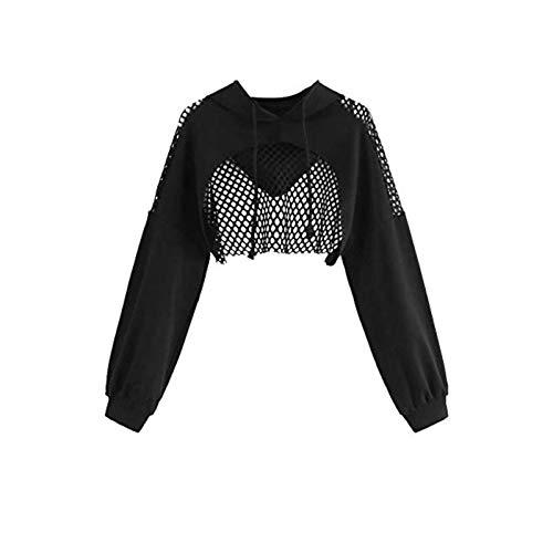 Ladies Solid Color Crop Tops Fashion Cutout Mesh Pullover Tops Long Sleeve Bandage Crop Hoodies Black