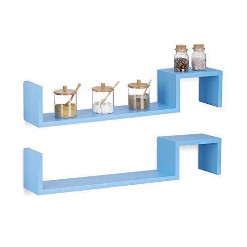 Relaxdays Hangkast, set van 2, boekenkast klein, houten rek om op te hangen, onzichtbare bevestiging, h x b x d: 15 x 80 x 15 cm, blauw