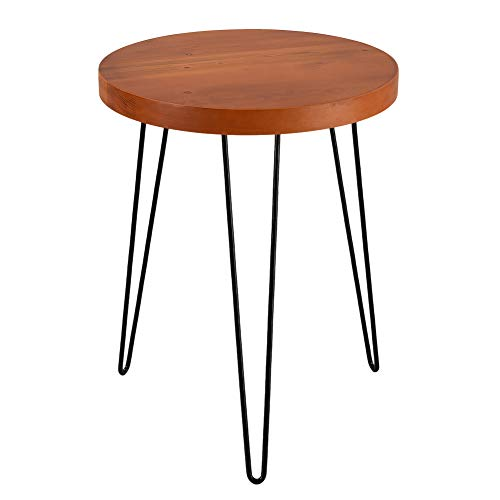 Wimarsbon Side Table Solid Wood, Round End Table with 3 Metal Legs, Coffee Table, Small Accent Sofa Table for Living Room