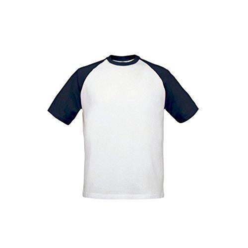 B&C Herren Baseball T-Shirt, zweifarbig, Kurzarm (Large) (Weiß/Marineblau)