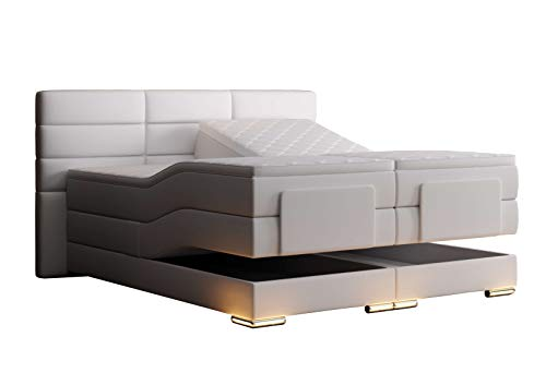 HG Royal Estates GmbH Roma Boxspringbett elektrisch Weiß Kunstleder Größe 200 x 200 cm
