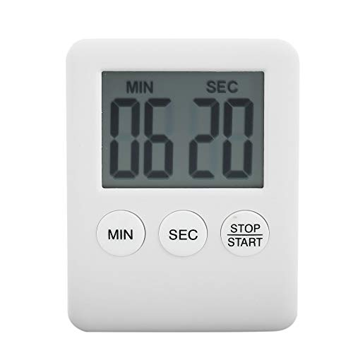 Temporizador de cocina digital con gran pantalla LCD magnética, alarma fuerte para contaminutos Egg Temporizador Kitchen (blanco)