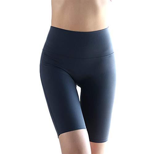 YOYOHO Frauen High Waist Strip Biker Shorts Sport Strumpfhose - L # Deep Blue
