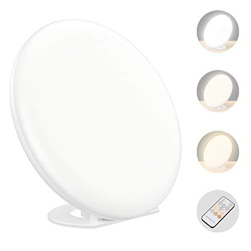 Tageslichtlampe 10000 Lux,Tecboss LED Tageslichtlampe Fernbedienung,Hohe Lichtquelle Leuchtstofflampe mit 4 Timer, Sonnenlicht mit 3 Helligkeitsstufen und 5 Stufenhelligkeit UV-freie LED Sonnenlicht