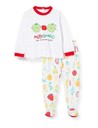Chicco Completo 2 Pezzi: t-Shirt coprifasce + ghettina Tutina, Bianco (Bianco Rosso 064), 74 (Taglia Produttore:074) Unisex-Bimbi