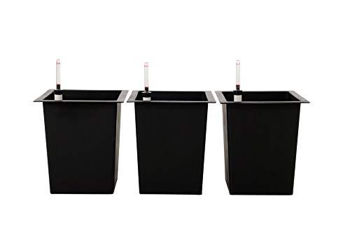 Vivanno 3er Set Blumenkübeleinsatz 29x29x32 cm mit Bewässerungsset schwarz