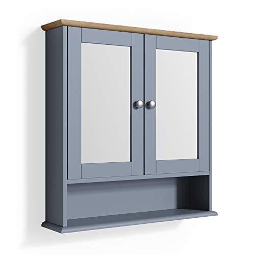Vicco Wandspiegel Bianco Badspiegel mit Ablage 2 Türen 58x56cm Hängespiegel Spiegel für Badezimmer im Landhausstil (Grau)