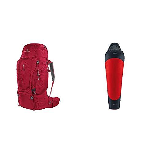 Ferrino Transalp 60, Zaino da Hiking Unisex, Rosso, 60 Litri & Yukon Pro, Sacco a pelo Uomo, Rosso Scuro, S