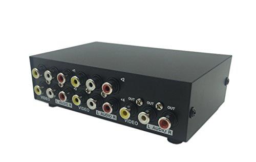CERRXIAN 4ポート4入力1出力ビデオオーディオAVスイッチセレクタスプリッタボックス