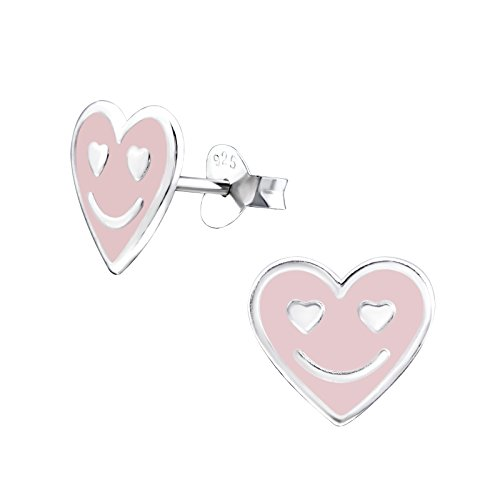 Mädchen Light Pink Smile Herz Sterling Silber Ohrstecker 1cm x 0,9cm