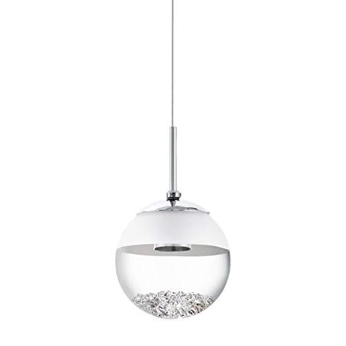 EGLO 93708 , Hängeleuchte, Glas, Integriert, Chrom / Weiß, 14 x 110 cm
